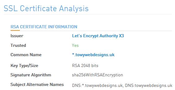 Towy Web Designs Wildcard SSL Certificate